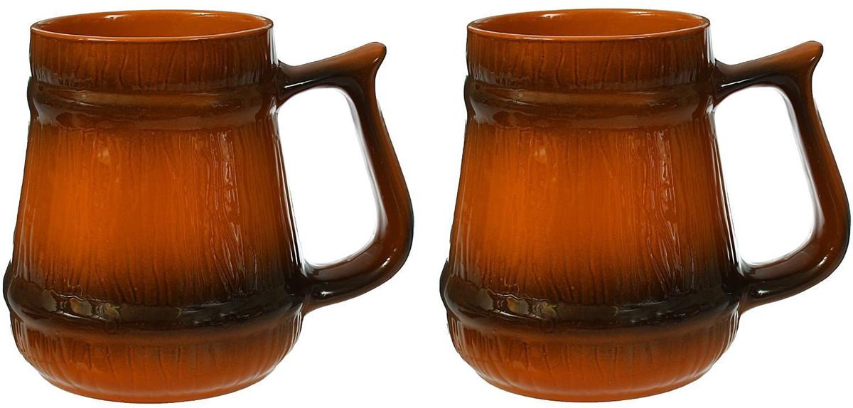 Кружка пивная Борисовская керамика Стандарт, 1,2 л, 2 штОБЧ00000033Вся посуда изготовлена из экологически чистой красной глины, покрытие - из пищевой глазури. Изделие выполнено в коричневом цвете с рельефом, который напоминает дерево. Объем каждой кружки 1,2 литра. В руках кружки сидят удобно исмотрятся очень хорошо. Подчеркнутость рельефа придает этим кружкам очень благородный вид. Набор станет отличным подарком и изысканновпишется в интерьер вашего дома.