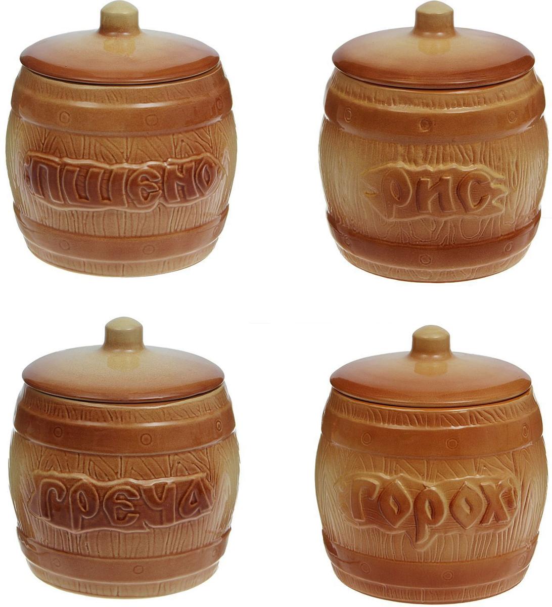 Набор банок для хранения Борисовская керамика Греча+Рис+Пшено+Горох, 1,2 л, 4 шт. ОБЧ00000174ОБЧ00000174Набор банок Борисовская керамика - изящные керамические емкости, предназначенные дляхранения различных круп, чая, кофе и многого другого. Они нужны, чтобы продукты не теряли свойестественный вкус и аромат. Предметы набора декорированыобъемными надписями. Оригинальный дизайн, эстетичность и функциональность набора позволят емустать достойным дополнением к кухонному инвентарю. В наборе 4 банки.