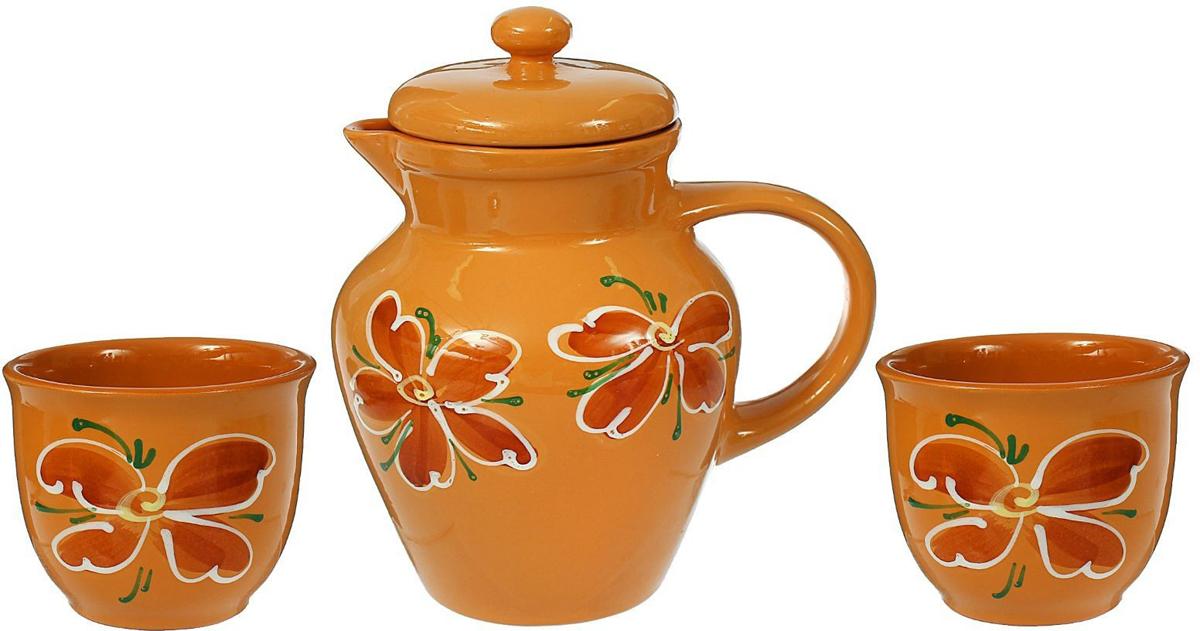 Набор Борисовская керамика: Кувшин для воды + Чашка для чая, 2 шт. ОБЧ00000236ОБЧ00000236Набор Кувшин для воды+2 чашки для чая (к) ОБЧ00000236. Материал: Керамика. Объем: