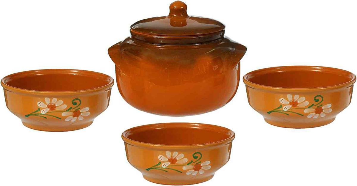 Набор столовой посуды Борисовская керамика Новарусса, 4 предмета набор столовой посуды борисовская керамика русский 3 предмета 900 мл