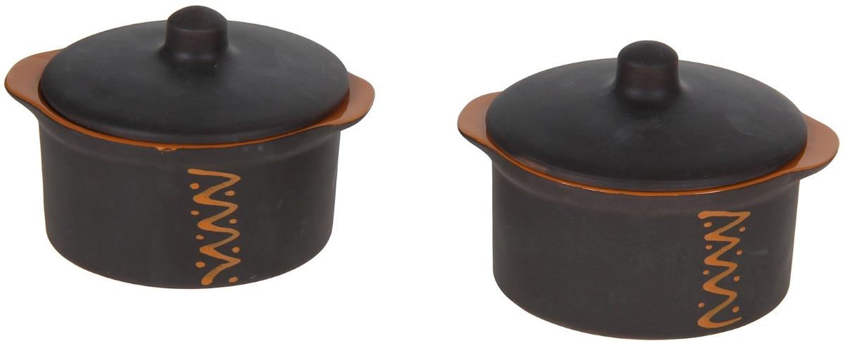 Набор кастрюль для запекания Борисовская керамика Чугун с крышками, 500 мл, 4 предмета kitchenaid kblr04nsac набор из 4 керамических кастрюль для запекания cream