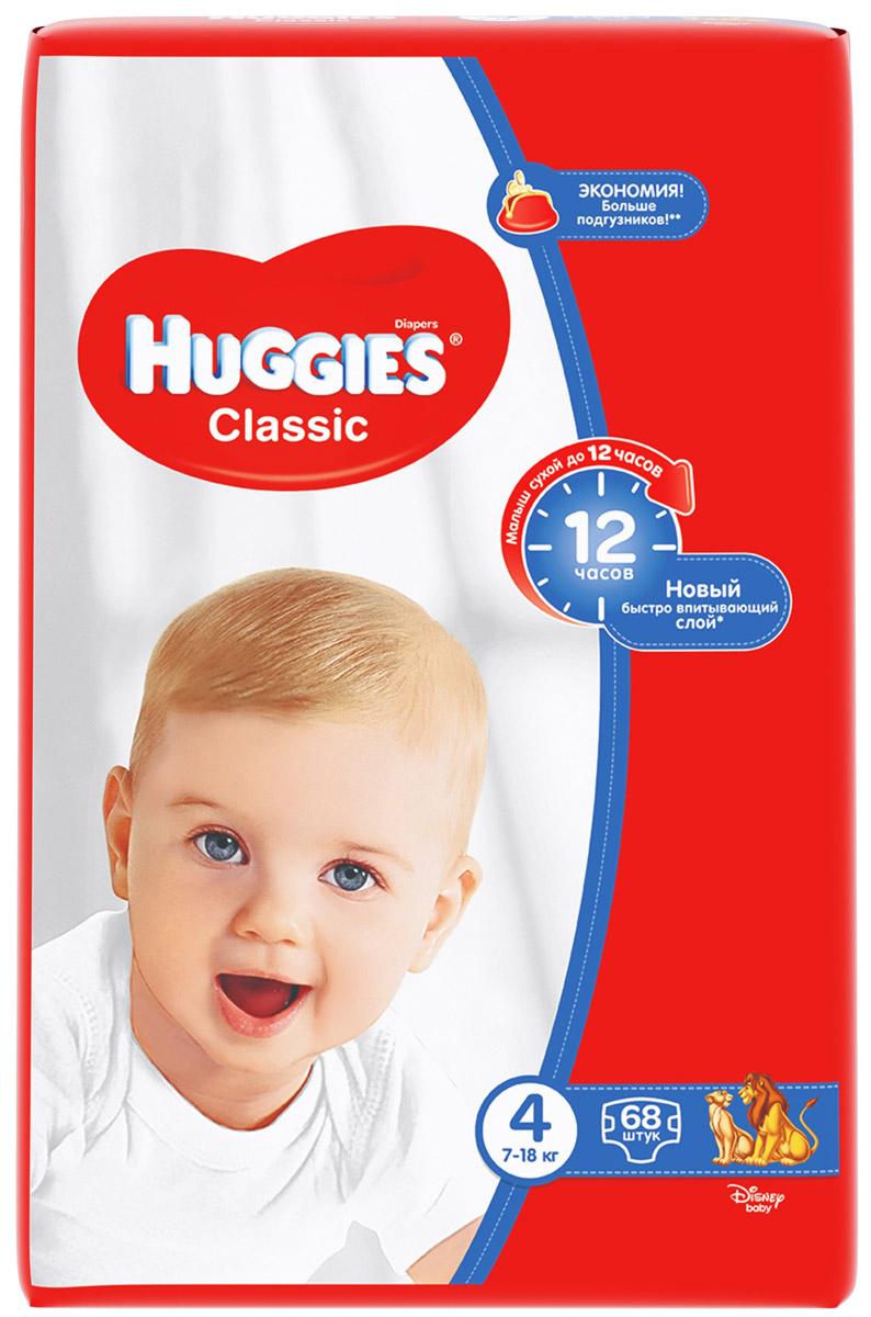 Huggies Подгузники Classic 7-18 кг (размер 4) 68 шт