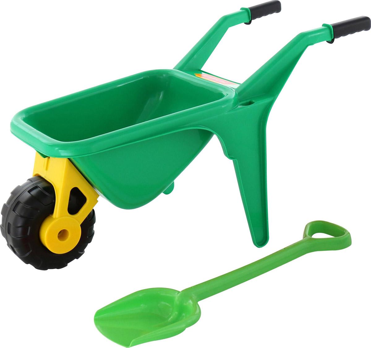 Полесье Набор игрушек для песочницы Тачка Садовод с лопатой цвет зеленый игрушки для зимы полесье набор для песочницы 565