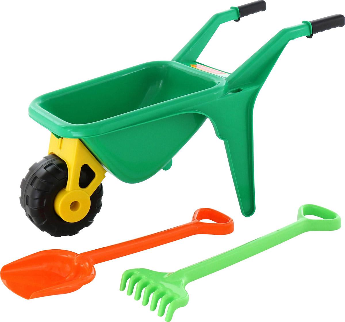 Полесье Набор игрушек для песочницы Тачка Садовод с лопатой и граблями цвет зеленый - Игры на открытом воздухе