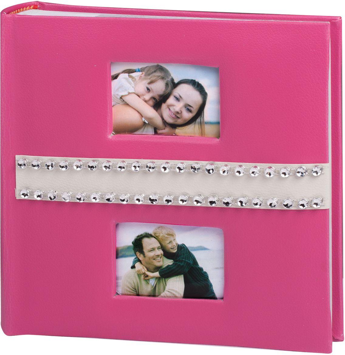 Фотоальбом Brauberg, цвет: розовый, 200 фотографий, 10 x 15 см390678Фотоальбом розового цвета, украшенный бежевой полосой из материала под кожу со стразами и двумя мини-рамкам для личных фото, станет прекрасным подарком для современной леди.