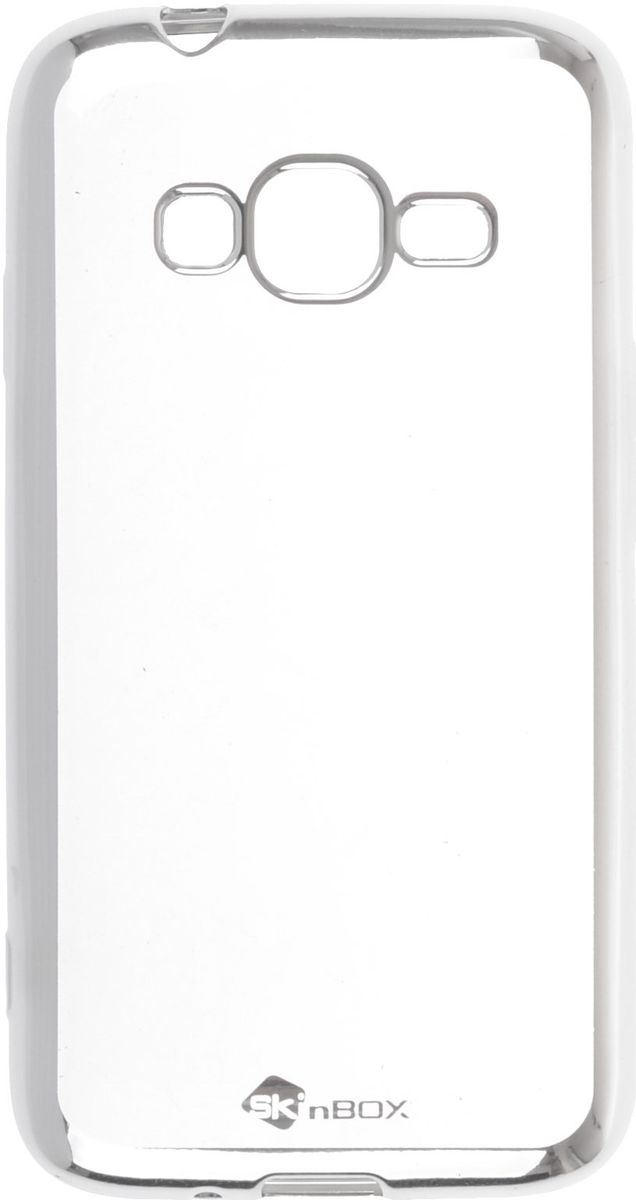купить Skinbox 4People Silicone Chrome Border чехол-накладка для Samsung Galaxy J1 mini Prime J106, Silver по цене 292 рублей