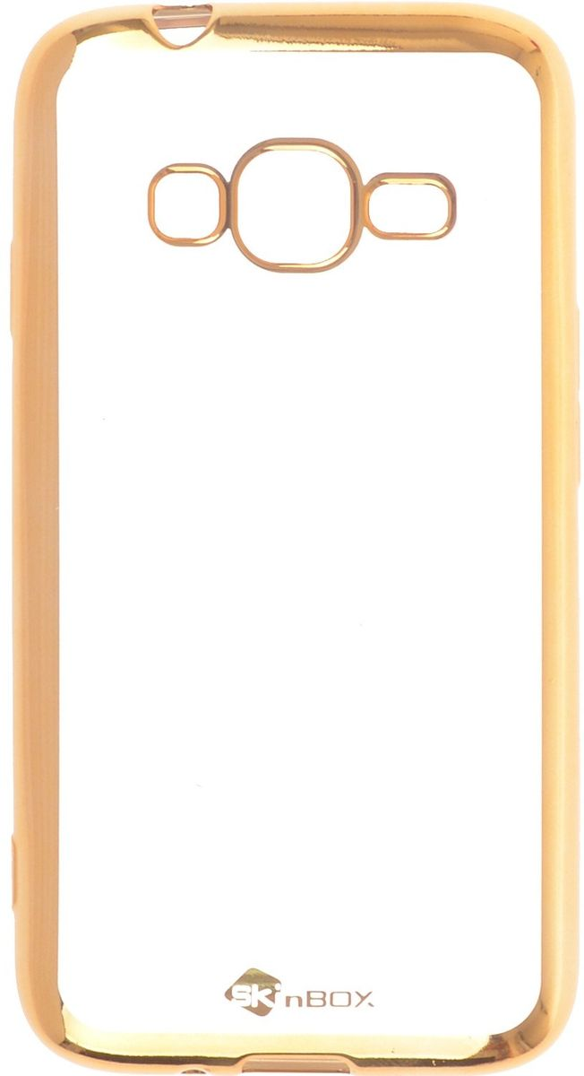 Skinbox 4People Silicone Chrome Border чехол-накладка для Samsung Galaxy J1 mini Prime J106, Gold