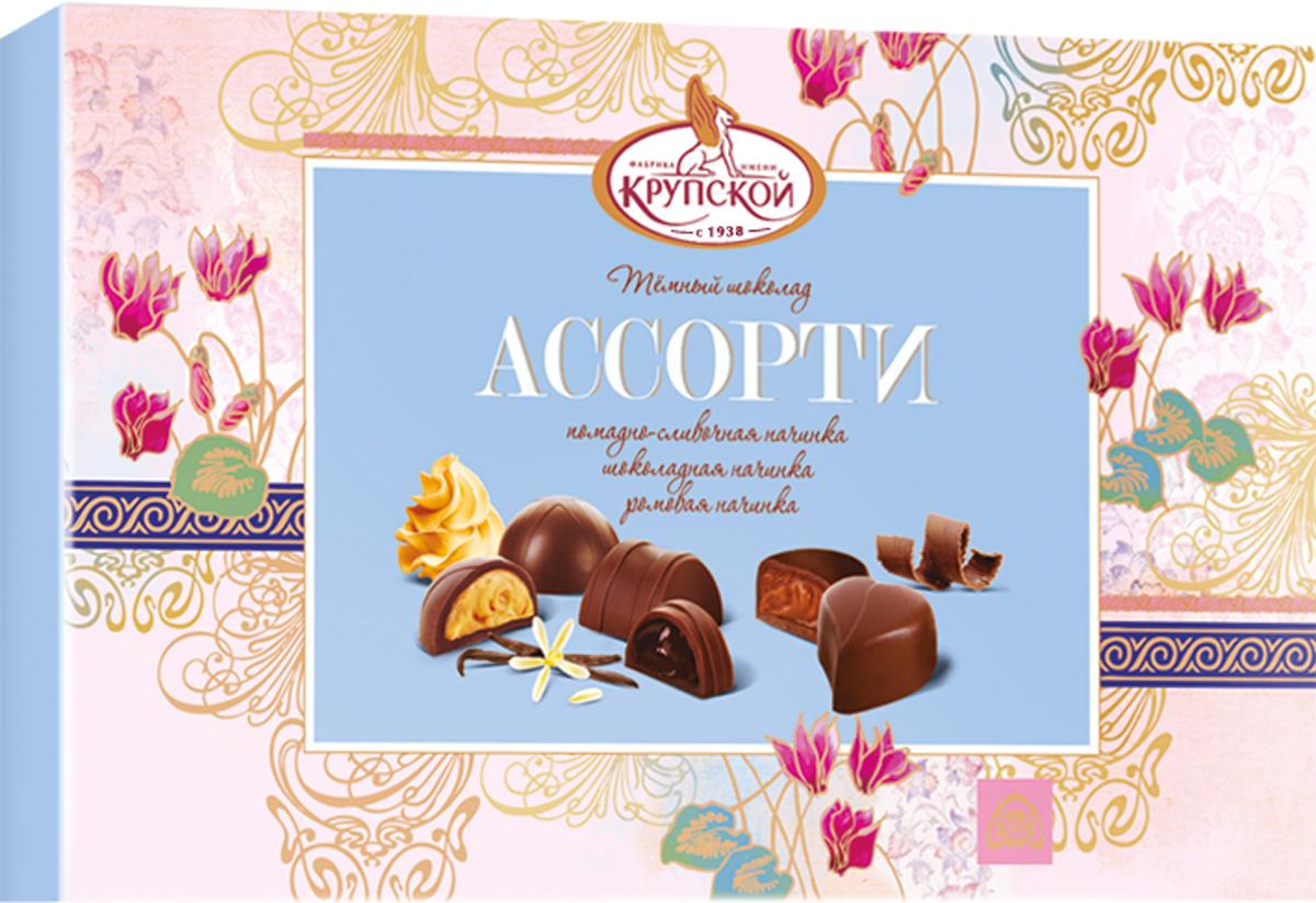 Фабрика имени Крупской Ассорти помадно-сливочная, шоколадная, ромовая начинка набор конфет, 195 г40143