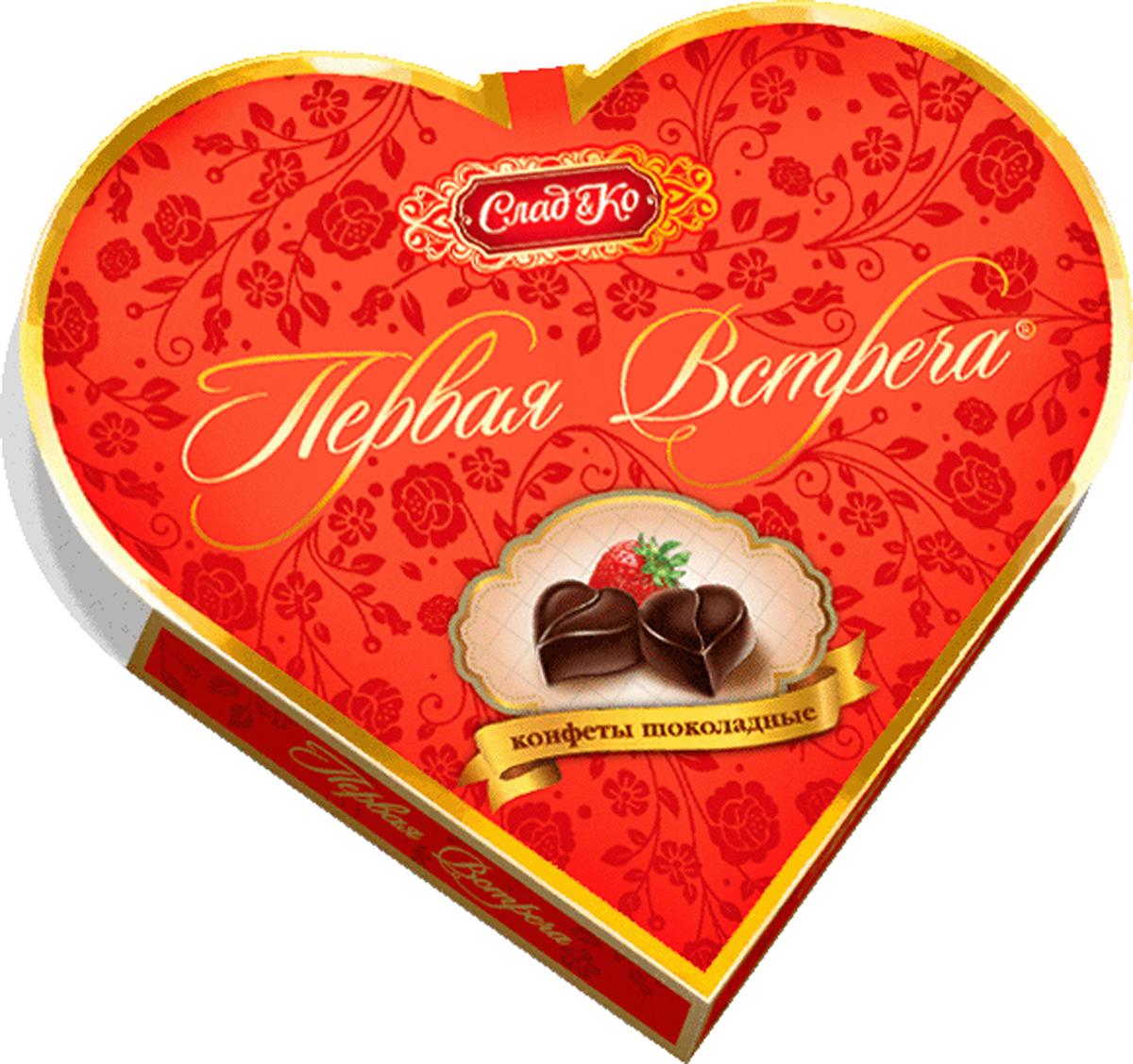 Сладко Первая встреча художественная коробка набор конфет, 250 г40180Конфеты в художественной коробке в виде сердечек, в темном шоколаде, с кремовой начинкой со вкусом клубники со сливками.