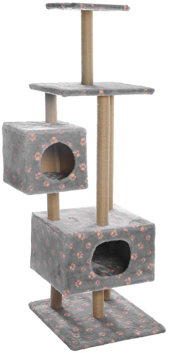 """Домик-когтеточка Меридиан """"Лапки"""", квадратный, с площадкой и полкой, цвет: серый, бежевый, 65 х 51 х 173 см"""