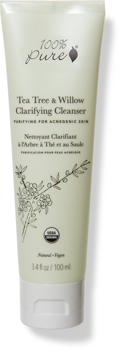 100% Pure Коллекция Чайное дерево и Ива: Органический очищающий гель-пенка для проблемной кожи, 100 мл - Косметика по уходу за кожей
