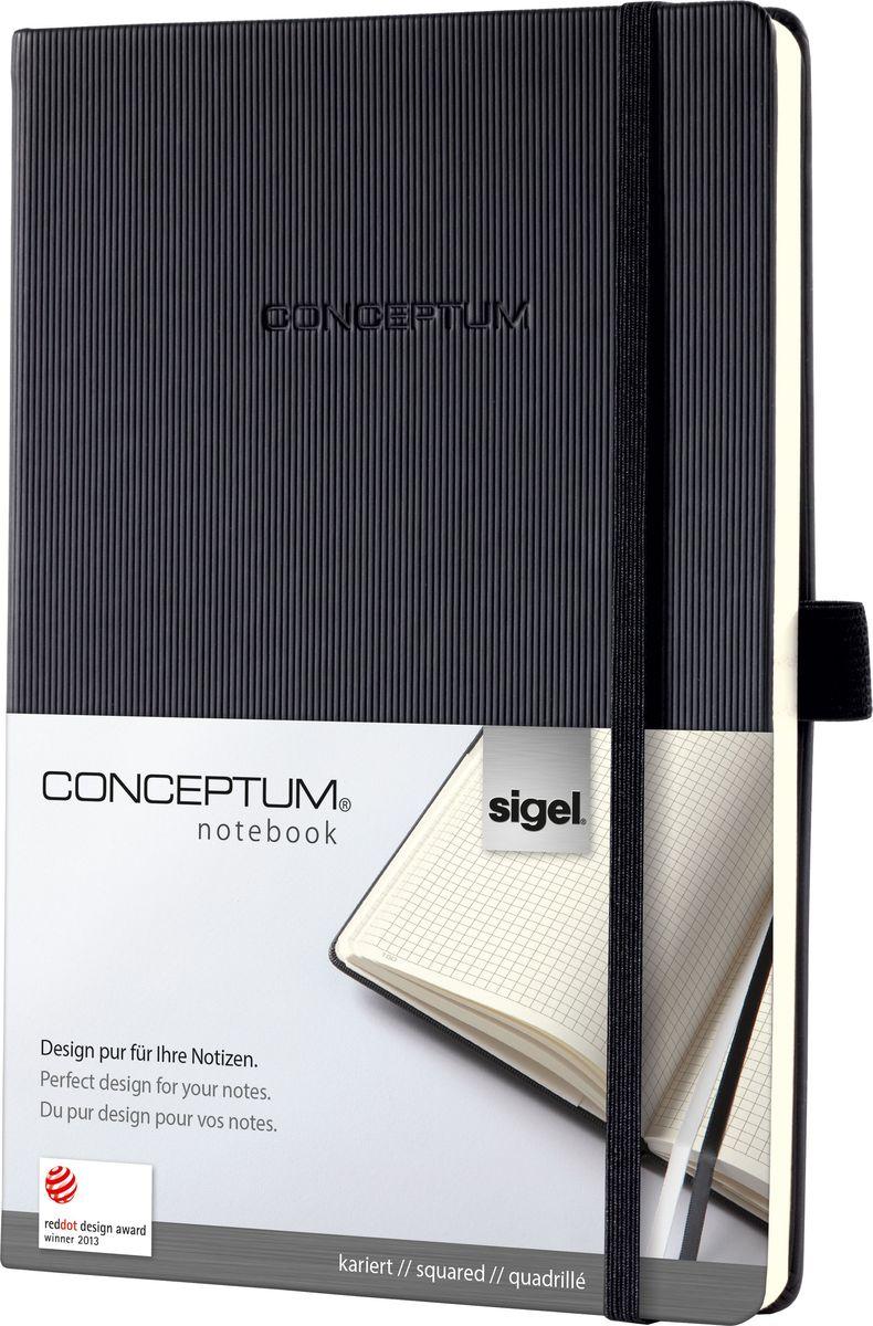 Sigel Блокнот Conceptum Hardcover цвет черный 97 листов в клетку CO121CO121Блокноты Sigel Conceptum Hardcover имеют собственный узнаваемый стиль и являются лауреатами нескольких международных дизайнерских премий. Превосходное исполнение, качество, которое видно в каждой детали, безукоризненный дизайн и множество интеллектуальных функций делают Sigel Conceptum Hardcover особенными. Блокнот Sigel Conceptum Hardcover в твердом переплете с эксклюзивной рифленой поверхностью softcover (мягкая волна) - идеальный компаньон для бизнеса с большим пространством для заметок. Он идеально подходит для хранения документов форматом до A4, защищая контракты и другие документы. Практичные элементы есть в каждом блокноте Sigel Conceptum Hardcover. Эластичная резинка-застежка, петля для ручки, по 2 наклейки на торец и обложку блокнота для подписи, карман для документов и визиток, оглавление, две закладки и нумерация страниц позволяют в совершенстве организовать все ваши заметки, мысли и комментарии. Многочисленные интеллектуальные функции и идеальный дизайн - именно эта комбинация делает блокноты Sigel Conceptum Hardcover отличными от остальных.Эластичная застежка:Блокнот надежно закрывается эластичной резинкой. Вы можете положить внутрь любые бумаги, такие как квитанции, билеты и др. Ничто не потеряется; а будет под рукой, когда это необходимо.Петля для ручки:Усиленная эластичная петля надежно удерживает пишущий инструмент на месте. Независимо от того, предпочитаете ли вы шариковую, перьевую или капиллярную ручку или карандаш, они всегда готовы к использованию.Оглавление:Возможность сделать оглавление обеспечивает идеальную организацию. Просто запишите раздел и номер страницы в блокноте.Внутренний карман:Карман для быстрого доступа находится на форзаце. Он идеально подходит для аккуратного хранения счетов, квитанций или билетов и их быстрого поиска.Ленточные закладки для страниц с важными заметками:Блокноты Sigel Conceptum Hardcover поставляются с двумя лентами-закладками разного цве