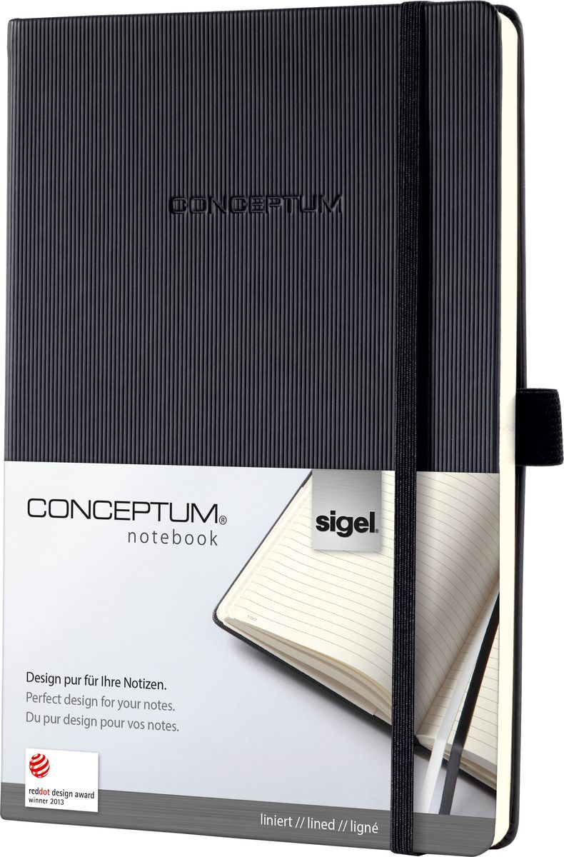 Sigel Блокнот Conceptum Hardcover цвет черный 97 листов в линейкуCO122Блокноты CONCEPTUM имеют собственный узнаваемый стиль и являются лауреатами нескольких международных дизайнерских премий. Превосходное исполнение, качество, которое видно в каждой детали, безукоризненный дизайн и множество интеллектуальных функций делают CONCEPTUM особенными. Блокнот CONCEPTUM Hardcover. Твердый переплет с эксклюзивной рифленой поверхностью softcover (мягкая волна), приятной на ощупь. Содержит 194 пронумерованные страницы, в том числе 20 перфорированных листов. Место для оглавления, карман на форзаце для быстрого доступа, архивный карман с отделением на 10 визитных карточек, 2 ленточные закладки разного цвета. Сертификат PEFC ответственного лесопользования. Многочисленные интеллектуальные функции и идеальный дизайн - именно эта комбинация делает блокноты CONCEPTUM отличными от остальных.Эластичная застежка:Блокнот надежно закрывается эластичной резинкой. Вы можете положить внутрь любые бумаги, такие как квитанции, билеты и др. Ничто не потеряется; а будет под рукой, когда это необходимо.Петля для ручки:Усиленная эластичная петля надежно удерживает пишущий инструмент на месте. Независимо от того, предпочитаете ли вы шариковую, перьевую или капиллярную ручку или карандаш, они всегда готовы к использованию.Оглавление:Возможность сделать оглавление обеспечивает идеальную организацию. Просто запишите раздел и номер страницы в блокноте.Внутренний карман:Карман для быстрого доступа находится на форзаце. Он идеально подходит для аккуратного хранения счетов, квитанций или билетов и их быстрого поиска.Ленточные закладки для страниц с важными заметками:Блокноты CONCEPTUM поставляются с двумя лентами-закладками разного цвета, позволяя легко и быстро находить важную информацию. Цвет лент перекликается с цветом блокнота: одна - белая, вторая - в тон обложки.Нумерация страниц:Практичная нумерация страниц наряду с персональным оглавлением и двумя закладками гарантирует большую эффективность и хор
