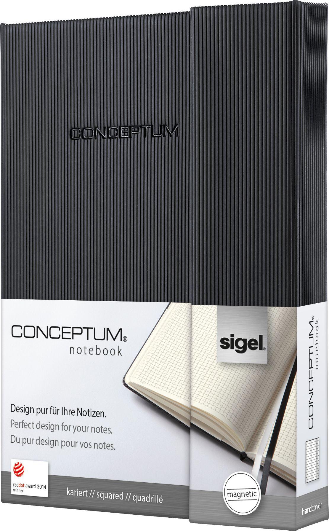 Sigel Блокнот Conceptum Hardcover цвет черный 97 листов в клетку CO171CO171Блокноты CONCEPTUM имеют собственный узнаваемый стиль и являются лауреатами нескольких международных дизайнерских премий. Превосходное исполнение, качество, которое видно в каждой детали, безукоризненный дизайн и множество интеллектуальных функций делают CONCEPTUM особенными. Блокнот CONCEPTUM Hardcover. Твердый переплет с эксклюзивной рифленой поверхностью softcover (мягкая волна), приятной на ощупь. Содержит 194 пронумерованные страницы, в том числе 20 перфорированных листов. Место для оглавления, карман на форзаце для быстрого доступа, архивный карман с отделением на 10 визитных карточек, 2 ленточные закладки разного цвета. Сертификат PEFC ответственного лесопользования. Многочисленные интеллектуальные функции и идеальный дизайн - именно эта комбинация делает блокноты CONCEPTUM отличными от остальных.Магнитная застежка - функциональная и элегантная. Обложка плотно захлопывается на магнит, ручка или карандаш надежно удерживаются внутри клапана.Петля для ручки:Усиленная эластичная петля надежно удерживает пишущий инструмент на месте. Независимо от того, предпочитаете ли вы шариковую, перьевую или капиллярную ручку или карандаш, они всегда готовы к использованию.Оглавление:Возможность сделать оглавление обеспечивает идеальную организацию. Просто запишите раздел и номер страницы в блокноте.Внутренний карман:Карман для быстрого доступа находится на форзаце. Он идеально подходит для аккуратного хранения счетов, квитанций или билетов и их быстрого поиска.Ленточные закладки для страниц с важными заметками:Блокноты CONCEPTUM поставляются с двумя лентами-закладками разного цвета, позволяя легко и быстро находить важную информацию. Цвет лент перекликается с цветом блокнота: одна - белая, вторая - в тон обложки.Нумерация страниц:Практичная нумерация страниц наряду с персональным оглавлением и двумя закладками гарантирует большую эффективность и хорошую организацию.Архивный карман с практичным слотом д