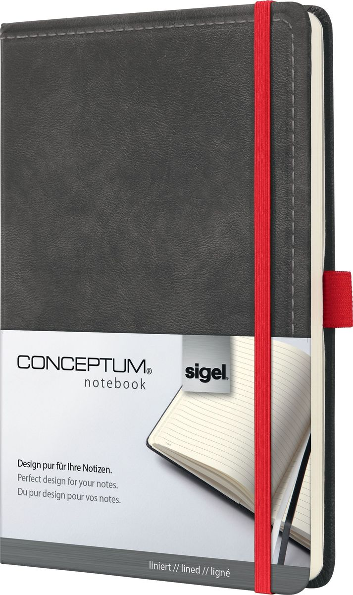 Sigel Блокнот Conceptum Vintage цвет темно-серый 97 листов в линейкуCO637Блокноты CONCEPTUM имеют собственный узнаваемый стиль и являются лауреатами нескольких международных дизайнерских премий. Превосходное исполнение, качество, которое видно в каждой детали, безукоризненный дизайн и множество интеллектуальных функций делают CONCEPTUM особенными. Серия Vintage - это яркая эстетика. Их высококачественная обложка со стильно обработанной поверхностью под замшу и покрытием soft-touch отмечена многими наградами. Блокноты обязательно будут впечатлять, будучи аксессуарами с уникальным дизайном. Блокнот CONCEPTUM, дизайн «Винтаж». Твердый переплет со специальным мягким покрытием и тиснением «под замшу». Эластичная застежка и петля для ручки в красном цвете, контрастном обложке. Содержит 194 пронумерованные страницы, в том числе 20 перфорированных листов. Место для оглавления, карман на форзаце для быстрого доступа, архивный карман с отделением на 10 визитных карточек, 2 ленточные закладки разного цвета. Формат A5. Сертификат PEFC ответственного лесопользования.Эластичная застежка:Блокнот надежно закрывается эластичной резинкой. Вы можете положить внутрь любые бумаги, такие как квитанции, билеты и др. Ничто не потеряется; а будет под рукой, когда это необходимо.Петля для ручки:Усиленная эластичная петля надежно удерживает пишущий инструмент на месте. Независимо от того, предпочитаете ли вы шариковую, перьевую или капиллярную ручку или карандаш, они всегда готовы к использованию.Оглавление:Возможность сделать оглавление обеспечивает идеальную организацию. Просто запишите раздел и номер страницы в блокноте.Внутренний карман:Карман для быстрого доступа находится на форзаце. Он идеально подходит для аккуратного хранения счетов, квитанций или билетов и их быстрого поиска.Ленточные закладки для страниц с важными заметками:Блокноты CONCEPTUM поставляются с двумя лентами-закладками разного цвета, позволяя легко и быстро находить важную информацию. Цвет лент перекликается с цветом б