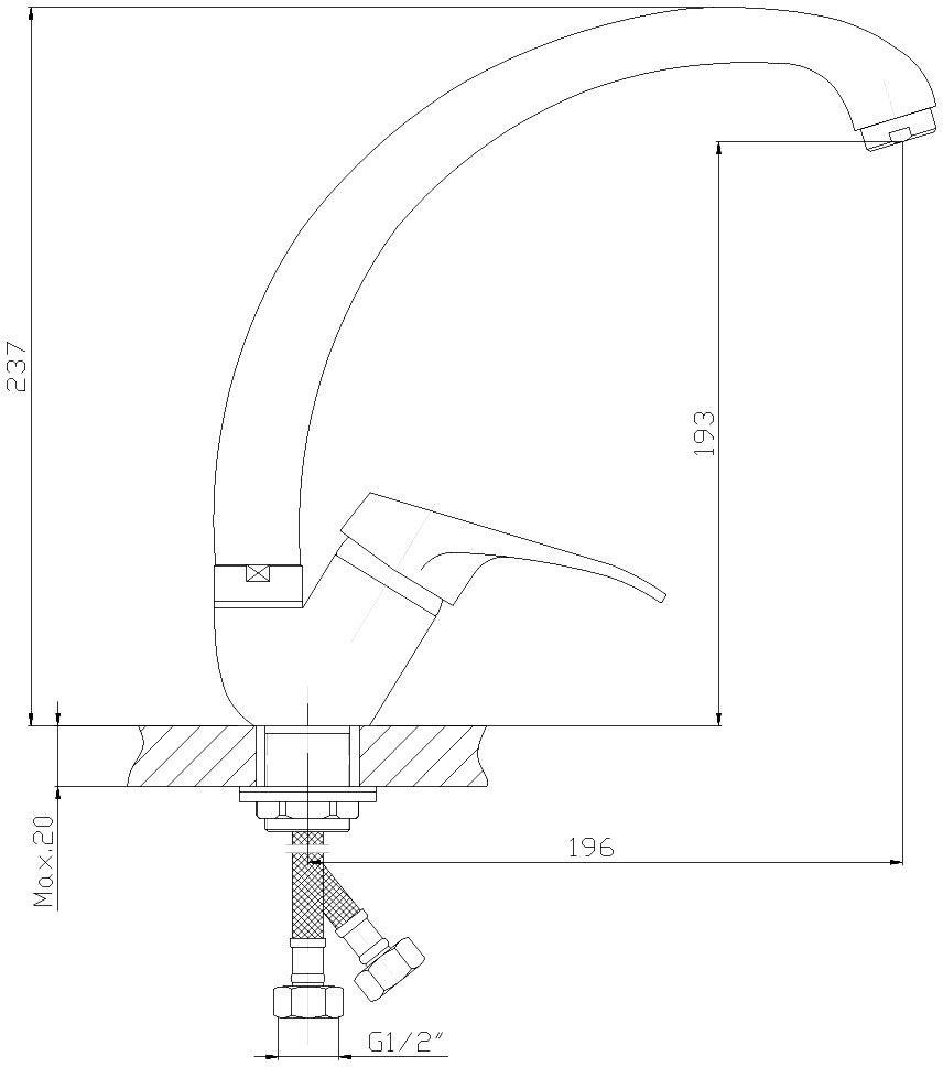 """Смеситель для кухни """"Decoroom"""" с поворотным изливом изготовлен из цинка - Пластиковый аэратор. - Керамический картридж 35 мм. - Гибкая подводка – 2 шт. - Комплект для монтажа на гайке."""