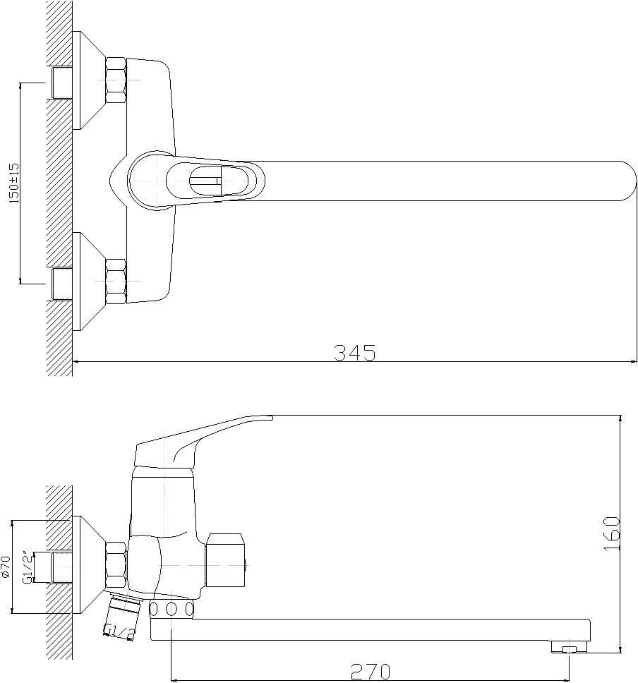 """Универсальный смеситель """"Decoroom"""" с поворотным изливом (300 мм) выполнен из цинка. - Пластиковый аэратор. - Керамический картридж 35 мм. - Переключатель с керамическими пластинами. - Аксессуары в комплекте (шланг 1,5 м, настенное крепление, 1-функциональная лейка). - Комплект для монтажа."""