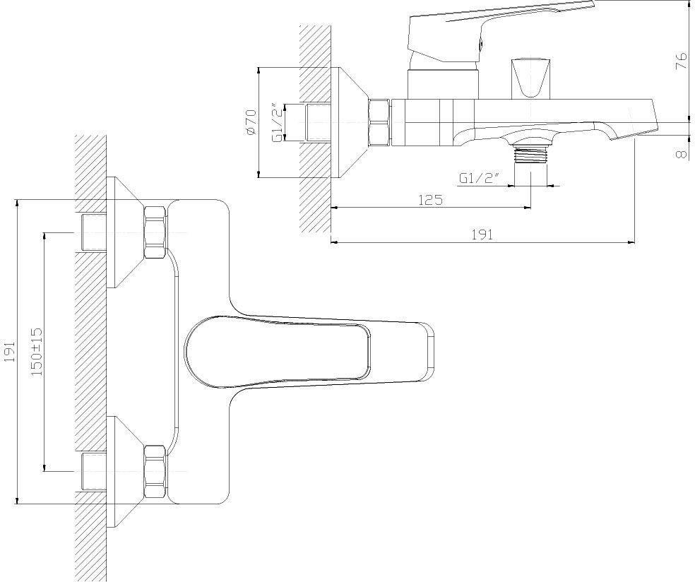 """Смеситель для ванны """"Decoroom"""" с монолитным изливом изготовлен из цинка. - Пластиковый аэратор.  - Керамический картридж 35 мм.  - Переключатель с керамическими пластинами. - Аксессуары в комплекте (шланг 1,5 м, настенное крепление, 5-функциональная лейка). - Комплект для монтажа."""