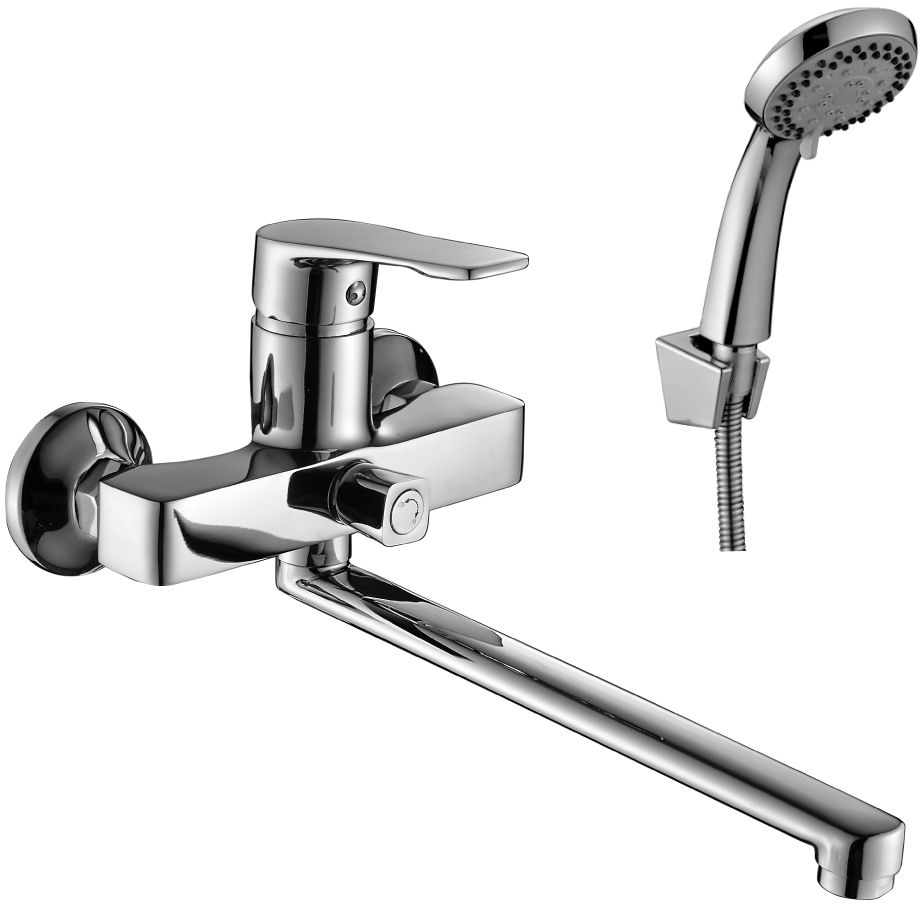 Смеситель Decoroom, для ванны, универсальный, с поворотным изливом, 350 мм. DR39043 смеситель для кухни vidima уно с литым поворотным изливом ba241aa