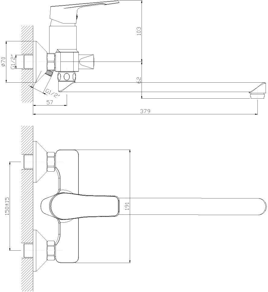 """Универсальный смеситель """"Decoroom"""" с поворотным изливом (350 мм) выполнен из цинка. - Керамический картридж 35 мм. - Переключатель с керамическими пластинами. - Аксессуары в комплекте (шланг 1,5 м, настенное крепление, 5-функциональная лейка). - Комплект для монтажа."""