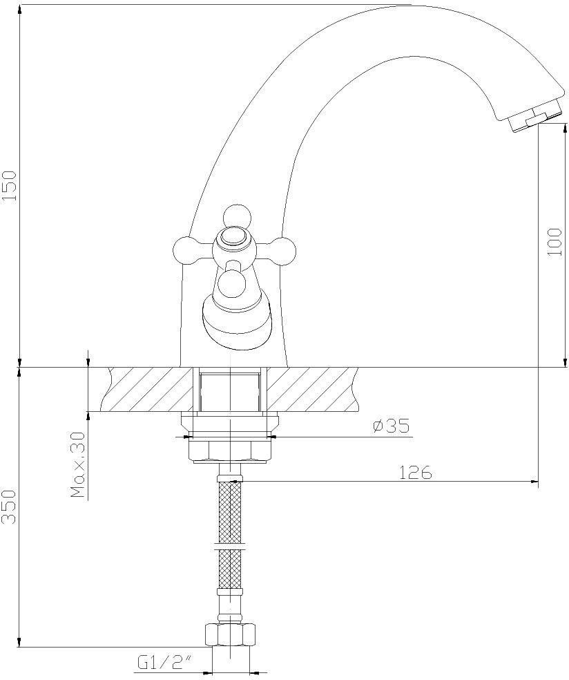 """Монолитный смеситель для умывальника """"Decoroom"""" изготовлен из цинка. - Пластиковый аэратор - Керамические вентильные головки (угол поворота – 90 градусов). - Гибкая подводка – 2 шт. - Комплект для монтажа на гайке."""