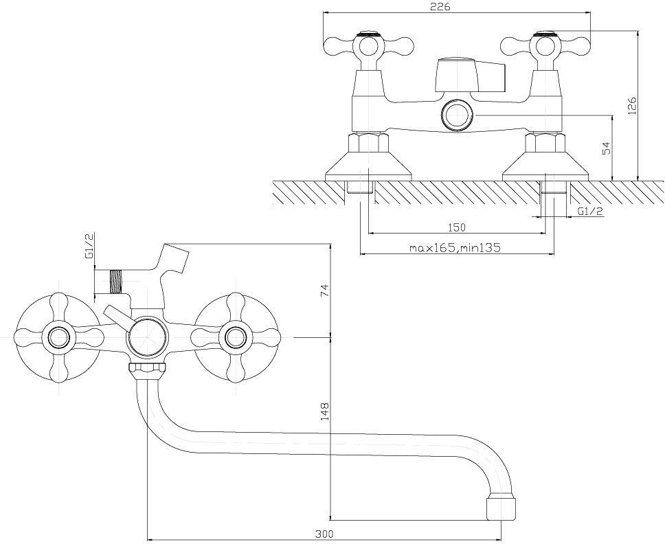 """Универсальный смеситель для душа """"Decoroom"""" с поворотным изливом (300 мм) изготовлен из цинка.  - Керамические вентильные головки (угол поворота – 90 градусов). - Аксессуары в комплекте (шланг 1,5 м, настенное крепление, 1-функциональная лейка). - Комплект для монтажа."""
