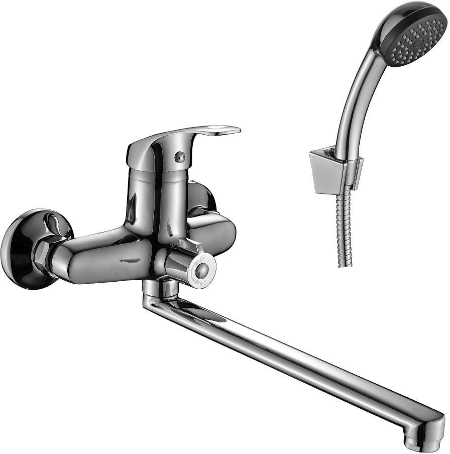Смеситель Decoroom, для ванны, универсальный, с поворотным изливом, 300 мм, цвет: хром. DR68043 смеситель для кухни vidima уно с литым поворотным изливом ba241aa