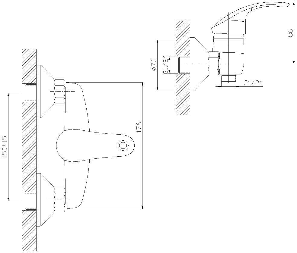 """Смеситель для душа """"Decoroom"""" изготовлен из цинка. - Керамический картридж 40 мм. - Аксессуары в комплекте (шланг 1,5 м, настенное крепление, 1-функциональная лейка). - Комплект для монтажа."""