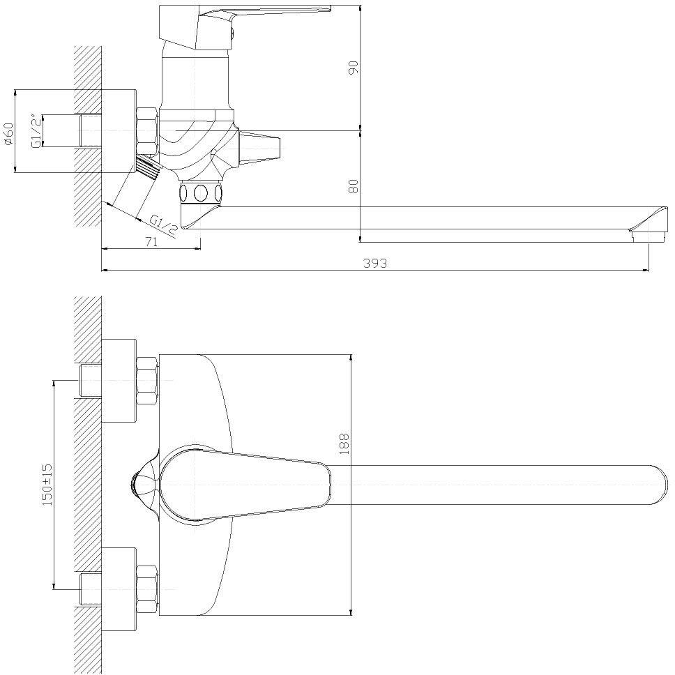 """Смеситель универсальный """"Decoroom"""" с поворотным изливом (350 мм) изготовлен из цинка. - Пластиковый аэратор. - Керамический картридж 40 мм. - Переключатель с керамическими пластинами. - Аксессуары в комплекте (шланг 1,5 м, настенное крепление, 5-функциональная лейка). - Комплект для монтажа."""