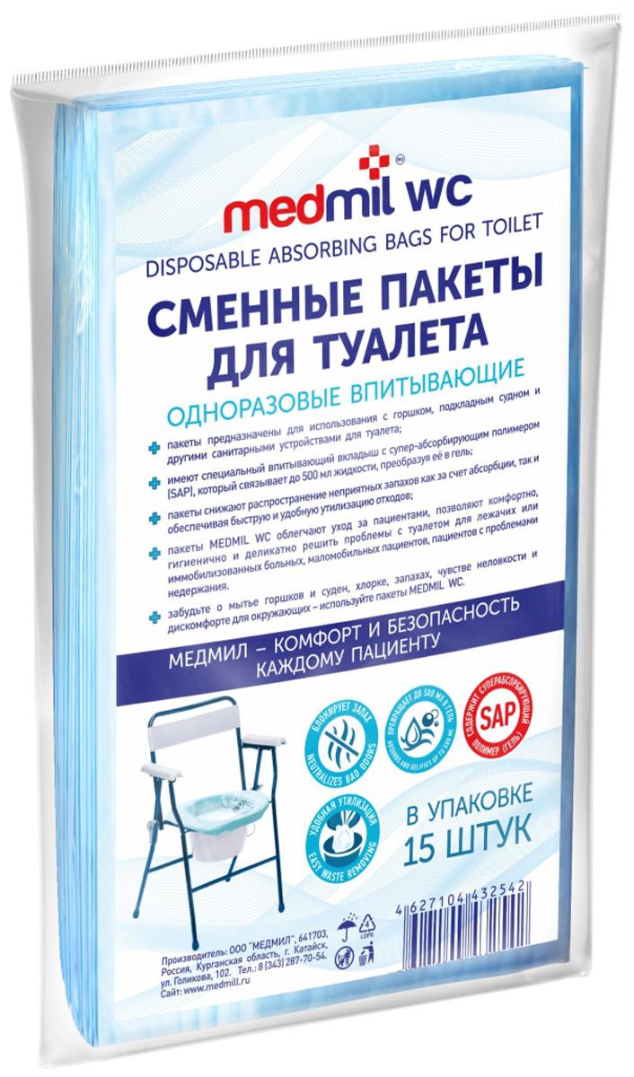 Medmil Пакеты сменные для туалета, впитывающие, одноразовые, 15 шт14 ПМ П1 015 Г5 180Medmil - сменные впитывающие одноразовые пакеты для туалета, подходящие для различных типов горшков, подкладных суден и других туалетных приспособлений. - предназначены для использования с горшком, подкладным судном, другими санитарными устройствами для туалета;- имеют специальный впитывающий вкладыш с супер-абсорбирующим полимером (SAP), который связывает до 500 мл жидкости, преобразуя ее в гель;- пакеты снижают распространение неприятных запахов, как за счет абсорбции, так и обеспечивая быструю и удобную утилизацию отходов;Пакеты Medmil облегчают уход за пациентами, позволяют комфортно, гигиенично и деликатно решить проблемы с туалетом для лежачих или иммобилизованных больных, маломобильных пациентов, пациентов с проблемами недержания. Забудьте о мытье горшков и суден, хлорке, запахах, чувстве неловкости и дискомфорте для окружающих – используйте пакеты Medmil.