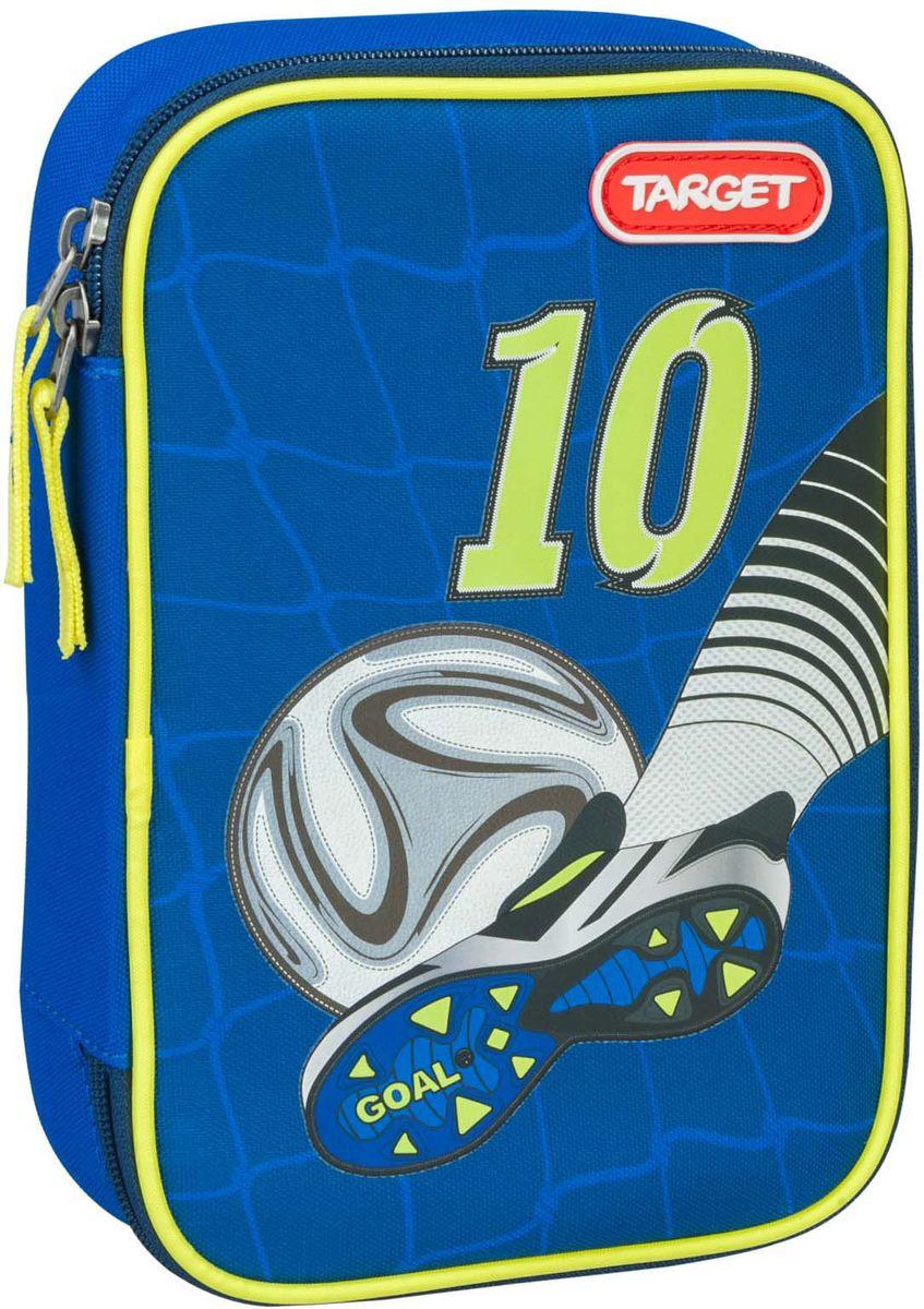 Target Пенал Goal цвет синий с наполнением21322Пенал с канцтоварами на 22 предмета и школьным расписанием. Изготовлен из качественного полиэстера. Он очень вместительный и с ярким дизайном. Пенал имеет одно отделение на молнии. Внутри его есть потайной карман для мелочей и откидная плотная створка-разделитель. Бегунки на застежках дополнены удобными тканевыми держателями. В наполнение пенала входит: 1 чернографитный карандаш, 12 цветных карандашей бренда Staedtler (Германия), 6 трехгранных цветных карандашей бренда Staedtler (Германия) и линейка, ластик , двойная точилка и расписание уроков.