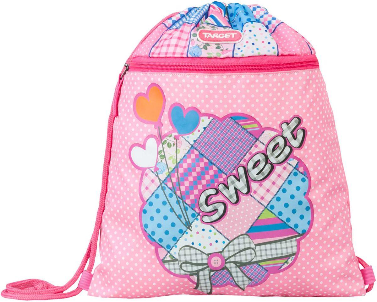 Target Сумка для сменной обуви Sweet Bow цвет розовый21341Предназначен для переноски и хранения детской сменной обуви, а так же спортивных вещей. Мешок имеет одно отделение (и сбоку оснащен боковым карманом на молнии.). С помощью длинных шнурков он плотно затягивается и выполняет функцию «рюкзака».