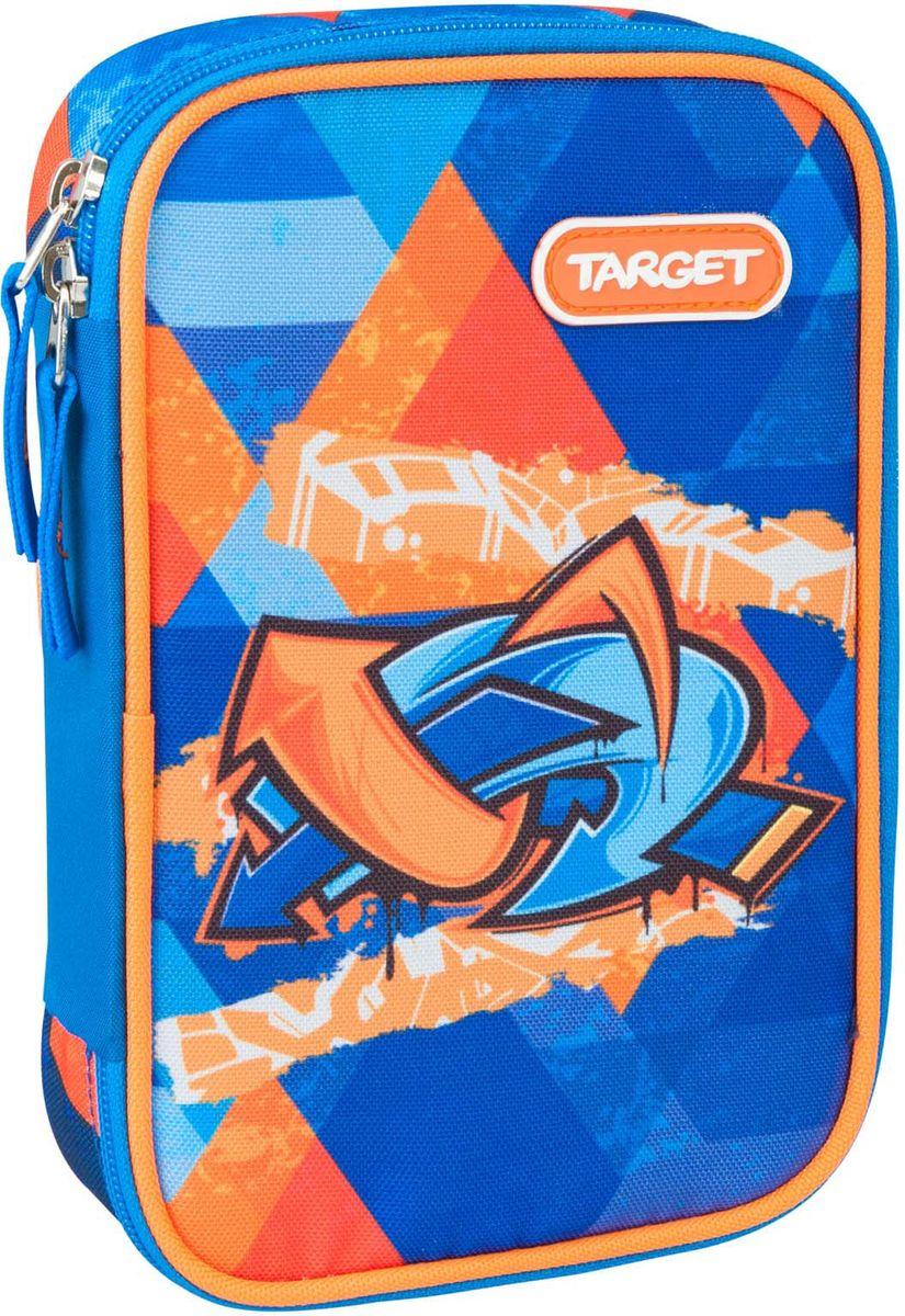 Target Пенал Murales цвет синий с наполнением21362Пенал с канцтоварами на 33 предмета. Изготовлен из качественного полиэстера. Он очень вместительный и с ярким дизайном. Пенал имеет одно отделение на молнии. Внутри его есть потайной карман для мелочей и откидная плотная створка-разделитель. Бегунки на застежках дополнены удобными тканевыми держателями. В наполнение пенала входит: 3 шариковых ручки, 2 чернографитных карандаша, 12 цветных карандашей бренда FILA (Италия), 12 фломастеров бренда FILA (Италия), ластик, точилка, клей и ножницы.