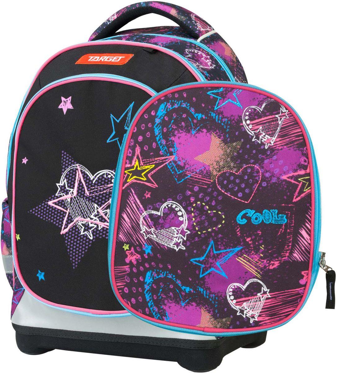 Target Рюкзак детский Freak Out цвет фиолетовый21388;21388Рюкзак супер легкий имеет яркий рисунок и изготовлен из современных, прочных материалов. При создании данной модели используются улучшенные материалы (3D), которые имеют свойство «дышать». Он оснащен двумя большими отделениями на молнии Передняя часть рюкзака съемная и может быть изменена на другой рисунок, который входит в комплект. Так же по бокам имеются у него два кармана на резинке. Бегунки на застежках с удобными тканевыми держателями. Особенности рюкзака: Система «Flexiball» (поясничная поддержка); Ортопедическая спинка; Регулируемые плечевые лямки; Плечевые лямки и спинка содержат вентиляционные отверстия и дополнительно оснащены ЭКО-пеной; Светоотражающий материал присутствует на передней, боковой и задней части рюкзака; Мягкая ручка в верхней части; Прочное и устойчивое дно на пластиковых ножках.
