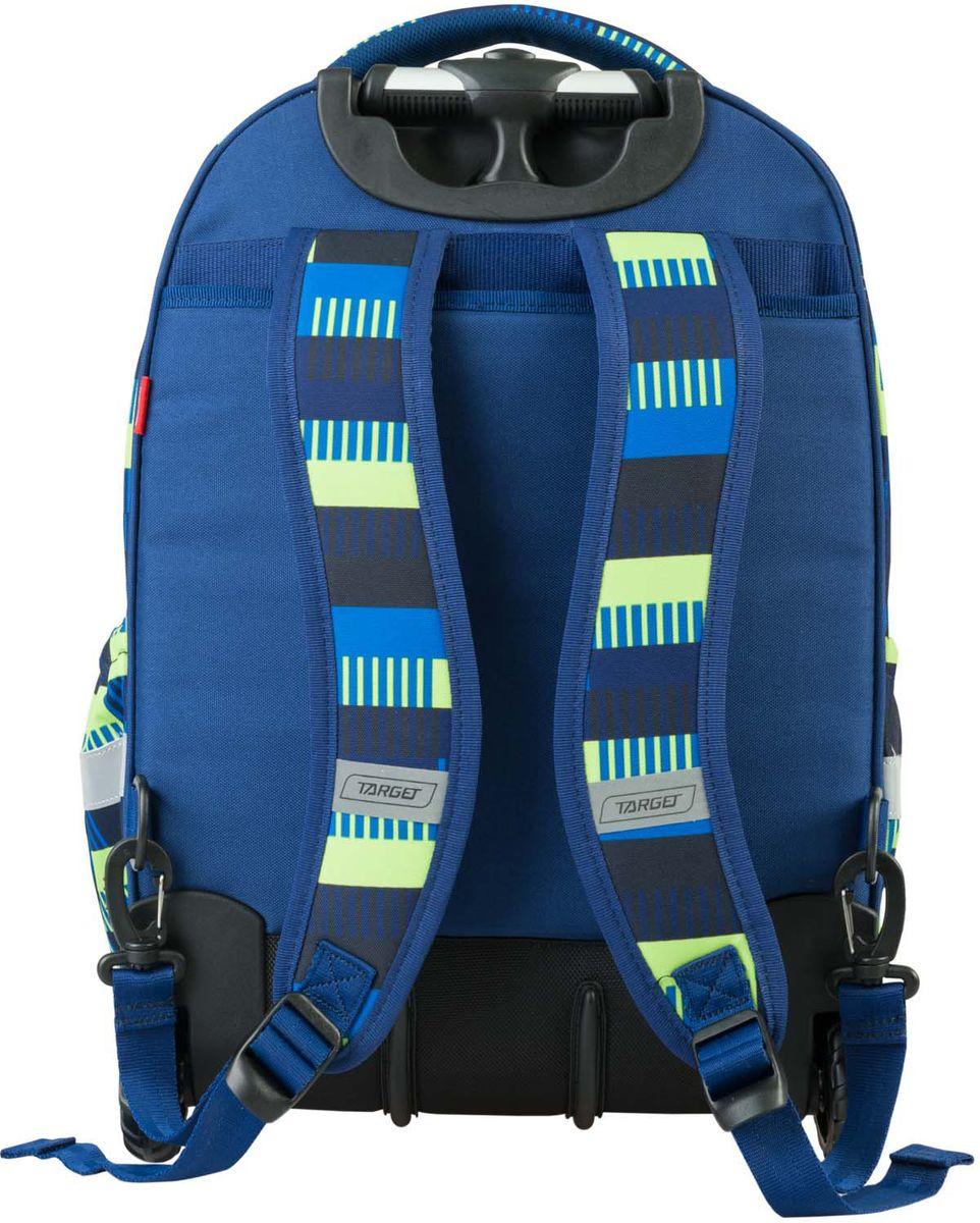 Target Рюкзак детский-тележка Allover цвет синий21424;21424Рюкзак-тележка оснащена двумя колесами и с телескопической ручкой, которая может быть изъята из рюкзака. В настоящее время - это самый современный рюкзак-тележка в мире. Фигурные лямки содержат вентиляционные отверстия и тем самым, имея возможность дышать. Они дополняются специальной ЭКО-пеной, которая делает ношение рюкзака более комфортным для ребенка. Рюкзак содержит 2 больших отделения, закрывающегося на молнию. На лицевой стороне рюкзака расположен большой накладной карман, так же на молнии. Светоотражающий материал присутствует на передней, боковой и задней части рюкзака, что позволяет сделать вашего ребенка более заметным, а так же обезопасить его не только днем, но и ночью