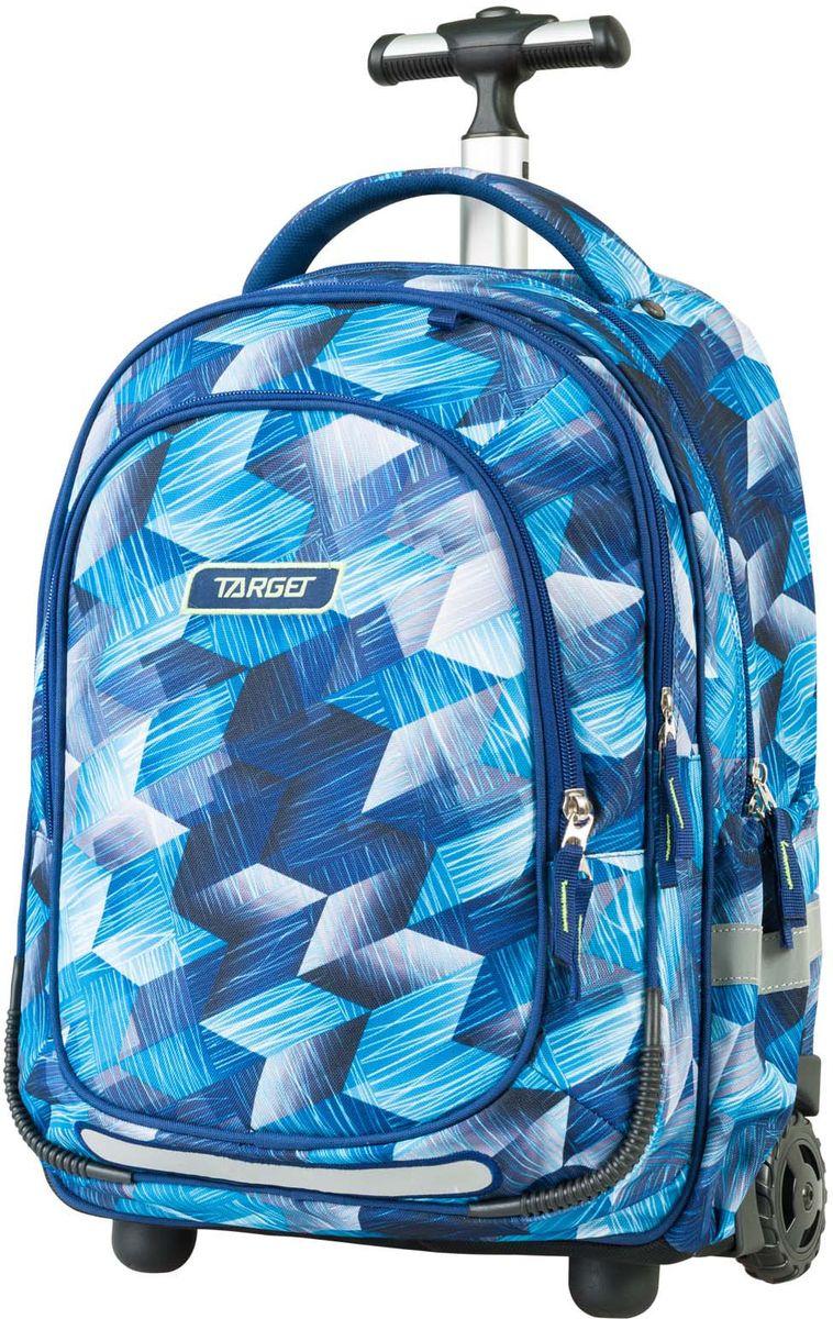 Target Рюкзак-тележка детский Allover 2 цвет синий21427Рюкзак-тележка оснащена двумя колесами и с телескопической ручкой, которая может быть изъята из рюкзака. В настоящее время - это самый современный рюкзак-тележка в мире. Фигурные лямки содержат вентиляционные отверстия и тем самым, имея возможность дышать. Они дополняются специальной ЭКО-пеной, которая делает ношение рюкзака более комфортным для ребенка. Рюкзак содержит 2 больших отделения, закрывающегося на молнию. На лицевой стороне рюкзака расположен большой накладной карман, так же на молнии. Светоотражающий материал присутствует на передней, боковой и задней части рюкзака, что позволяет сделать вашего ребенка более заметным, а так же обезопасить его не только днем, но и ночью
