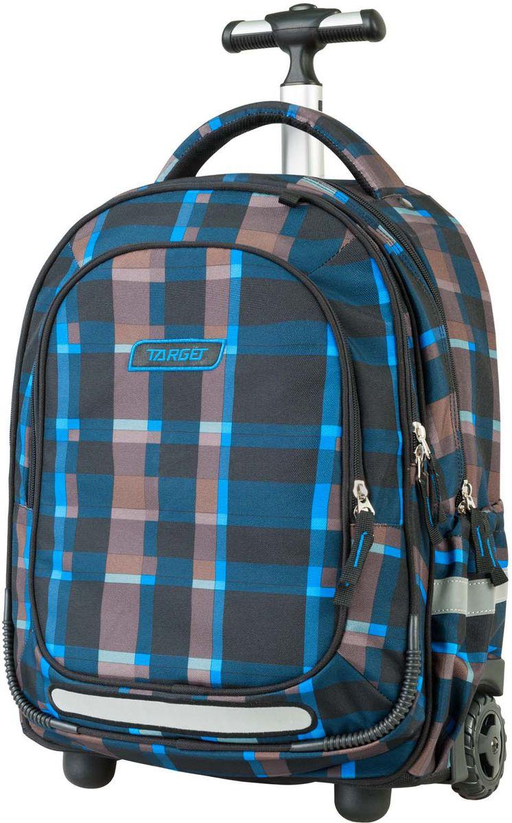 Target Рюкзак детский-тележка Allover 3 цвет синий21432;21432Рюкзак-тележка оснащена двумя колесами и с телескопической ручкой, которая может быть изъята из рюкзака. В настоящее время - это самый современный рюкзак-тележка в мире. Фигурные лямки содержат вентиляционные отверстия и тем самым, имея возможность дышать. Они дополняются специальной ЭКО-пеной, которая делает ношение рюкзака более комфортным для ребенка. Рюкзак содержит 2 больших отделения, закрывающегося на молнию. На лицевой стороне рюкзака расположен большой накладной карман, так же на молнии. Светоотражающий материал присутствует на передней, боковой и задней части рюкзака, что позволяет сделать вашего ребенка более заметным, а так же обезопасить его не только днем, но и ночью