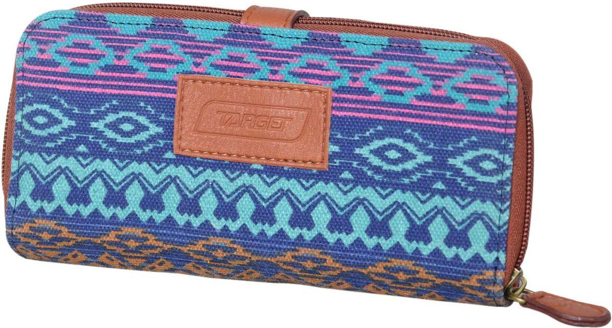 Target Кошелек женский Vista Blue 4 цвет синий21481Женский кошелек с африканским принтом. Модель вместительная и практичная, закрывается с помощью молнии.