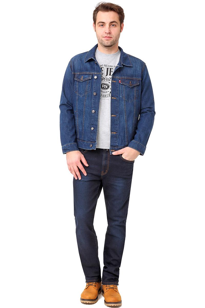 Куртка мужская F5, цвет: синий. 275023_w.dark. Размер S (46)275023_w.darkМужская джинсовая куртка выполнена из хлопка. Модель с отложным воротником и длинными рукавами застегивается на металлические пуговицы. Спереди куртка дополнена двумя прорезными карманами и двумя накладными карманами с клапанами на пуговицах. Рукава оформлены манжетами, застегивающимися на пуговицы.