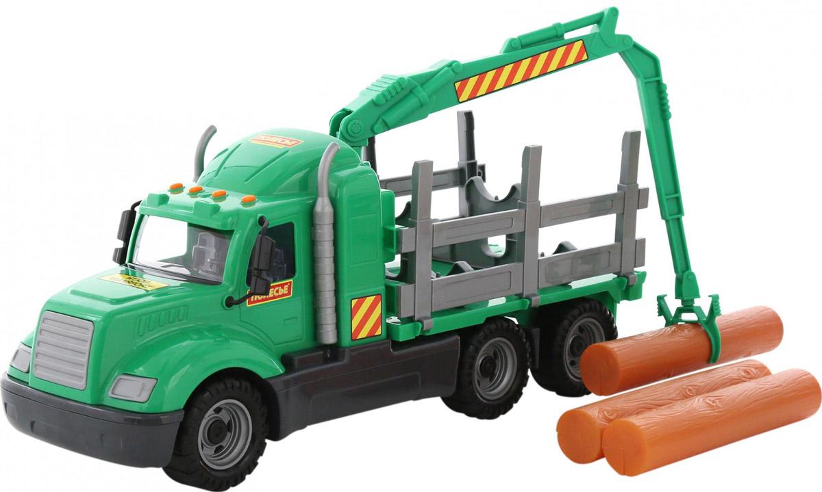Полесье Лесовоз Майк цвет зеленый серый автомобиль кран полесье майк с манипулятором конструктор супер микс 30 элем на поддоне в коробке 55590