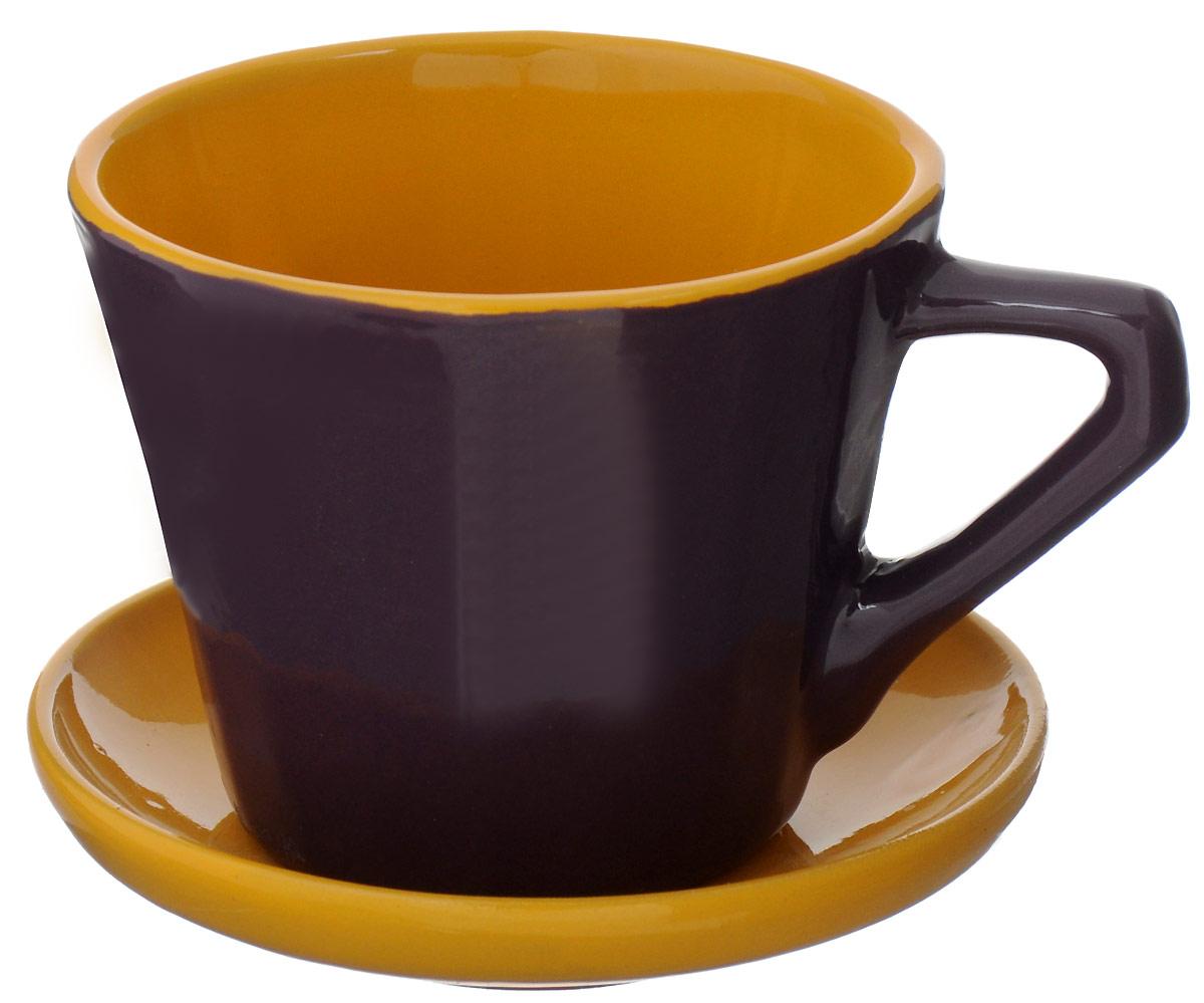 Чайная пара Борисовская керамика Ностальгия №2, цвет: бордовый, светло-коричневый, 200 млРАД14458002_бордовый, светло-коричневыйЧайная пара Борисовская керамика Ностальгия №2, цвет: бордовый, светло-коричневый, 200 мл