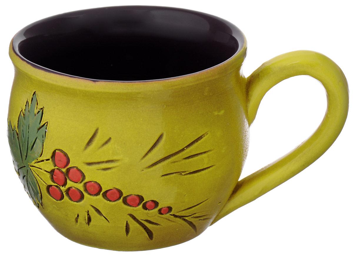 Чашка чайная Борисовская керамика Сморода, цвет: желтый, красный, зеленый, 300 млОБЧ00003214_желтый, красный, зеленыйЧашка чайная Борисовская керамика Сморода, цвет: желтый, красный, зеленый, 300 мл