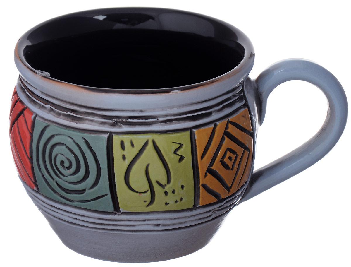 Чашка чайная Борисовская керамика Хэндмэйд, цвет: голубой, красный, желтый, 300 млОБЧ00003214_голубой, красный, желтыйЧашка чайная Борисовская керамика Хэндмэйд, цвет: голубой, красный, желтый, 300 мл
