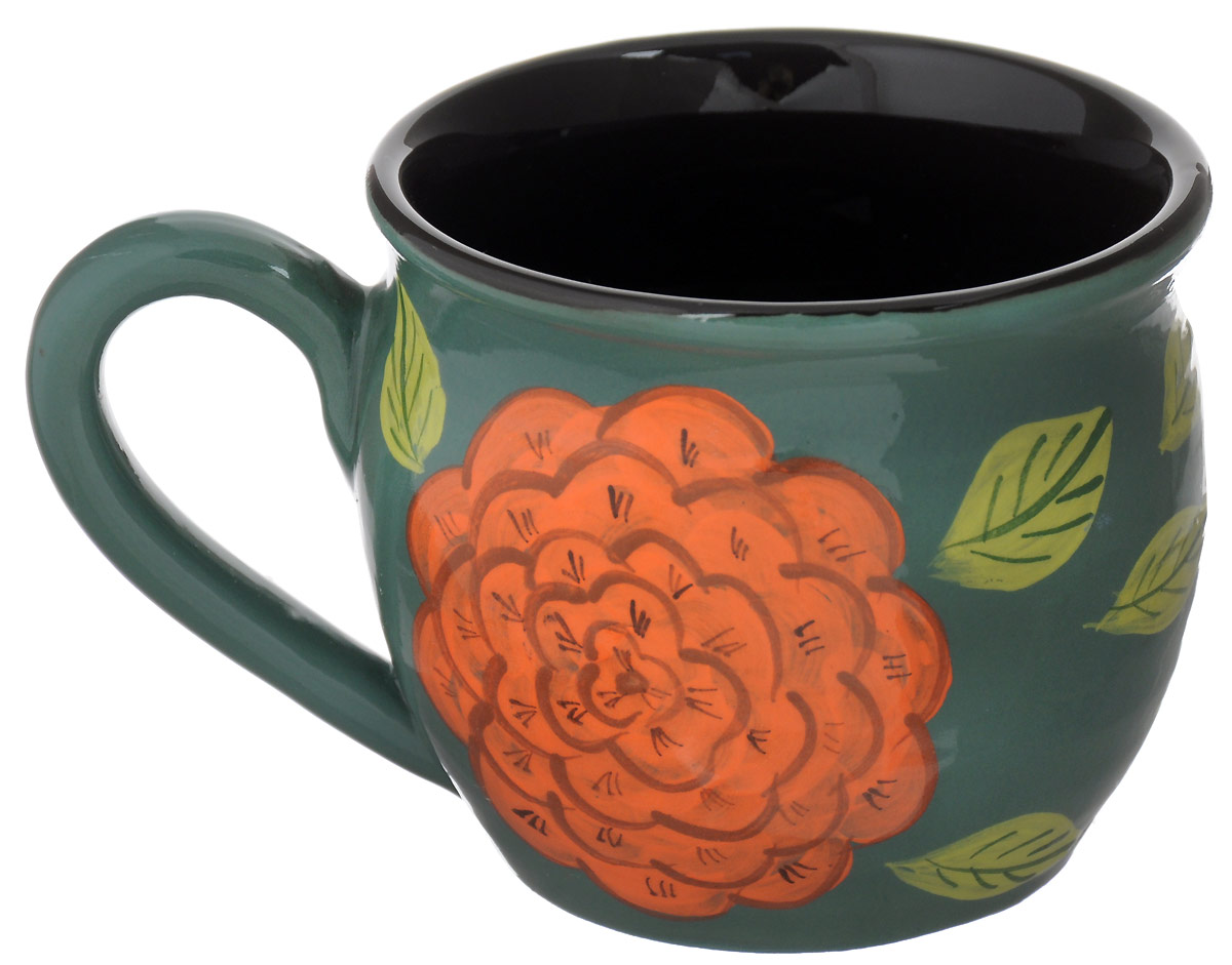 Чашка чайная Борисовская керамика Пион, цветы: зеленый, красный, салатовый, 300 млОБЧ00003214_зеленый, красный, салатовыйЧашка чайная Борисовская керамика Пион, цветы: зеленый, красный, салатовый, 300 мл