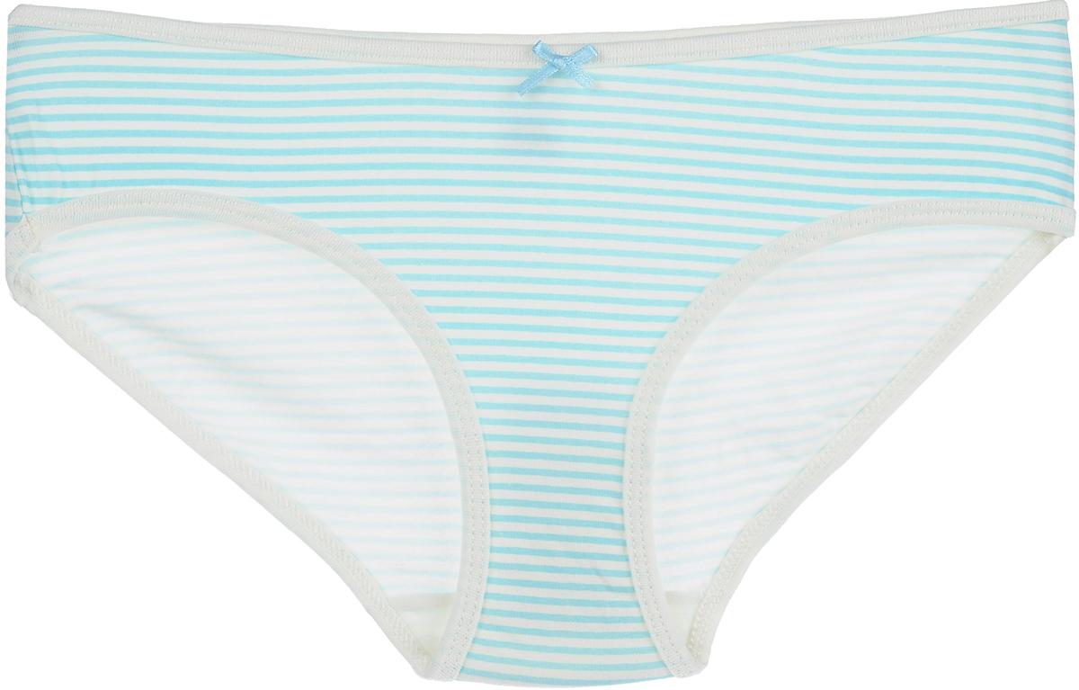 Трусы для девочки Sela, цвет: белый, голубой. PUb-5653/373-8111. Размер 140/146