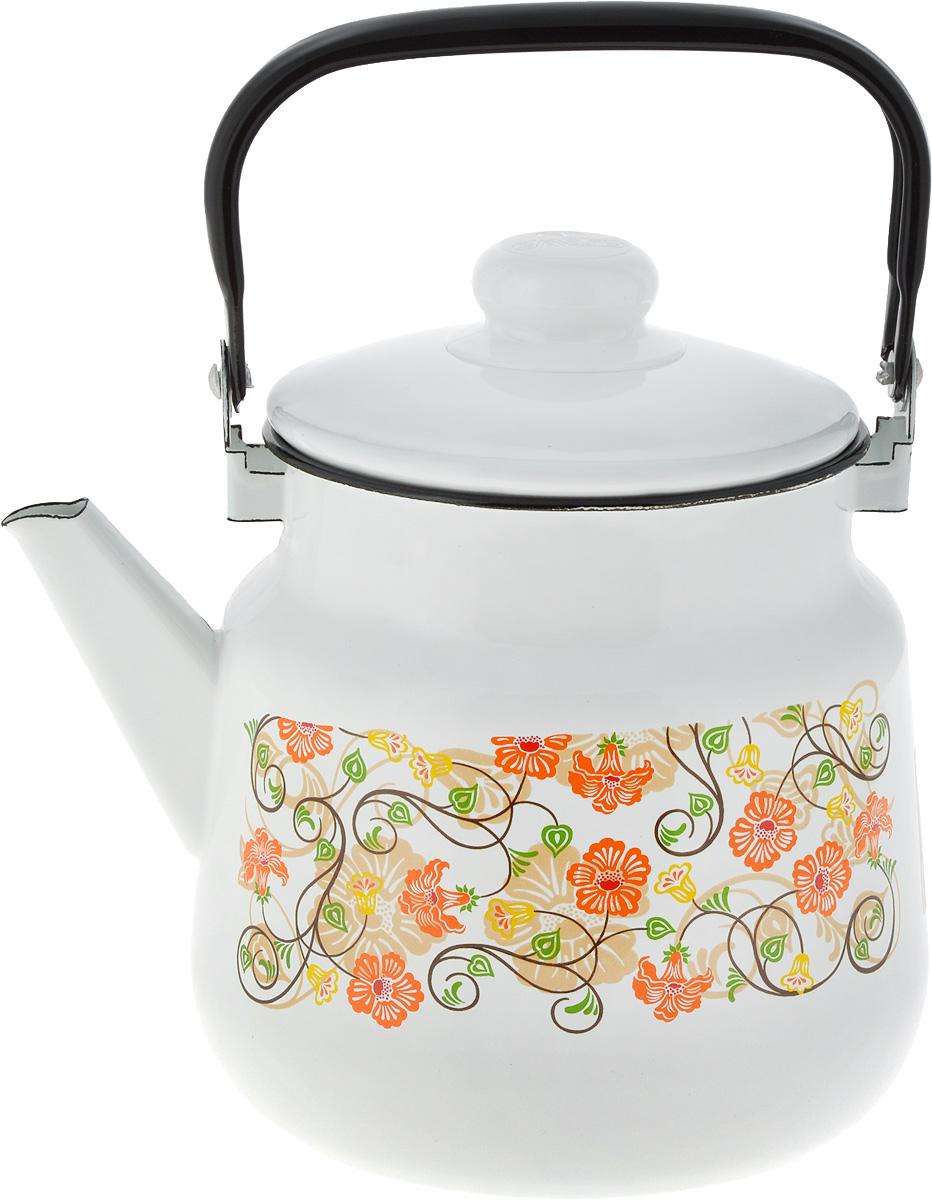 Чайник Эмаль Букет цветов, цвет: белый, оранжевый, 3,501-2713/4_белый, оранжевыйЧайник Эмаль Букет цветов, цвет: белый, оранжевый, 3,5