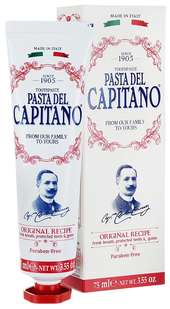 Pasta del Capitano Премиум Зубная паста Оригинальный рецепт, 75 мл26120_салатовыйЗубная паста Pasta del Capitano Оригинальный рецепт была пастой, произведенной в Италии в 1905 году, и ставшей сразу популярной благодаря уникальному аромату листьев гвоздики, мяты и корицы, который позволяет всегда иметь приятный запах изо рта и уверенную улыбку. Без парабенов. Соли фтора известны своим эффектом насыщения зубной эмали минералами. Их эффективность подтверждается несколькими испытаниями in vitro. Фторид натрия и монофторфосфат натрия, между фторидными солями, исторически постоянно изучались и являются наиболее часто используемыми. Sulfetal zn молекула (в т.ч.: сульфат цинка) имеет двойной эффект: антибактериальное действие из-за присутствия цинка очищающее действие благодаря содержанию поверхностно-активных веществ, полученных из кокосового масла.