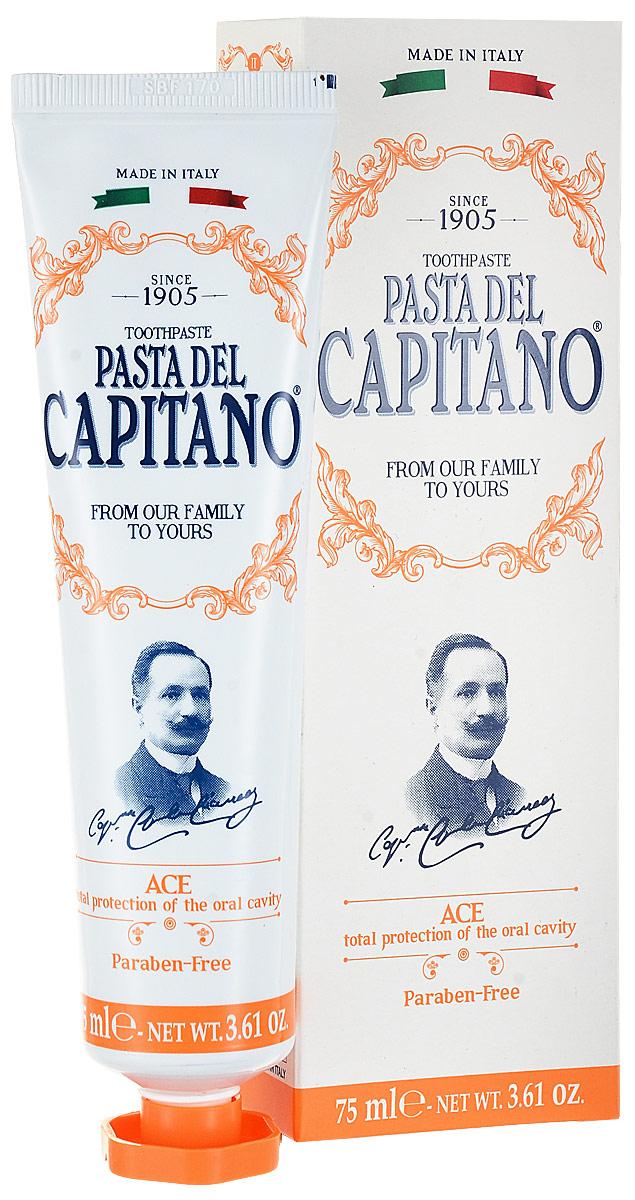 Pasta del Capitano Премиум Зубная паста с витаминами А С Е, 75 мл0373F00Зубная паста Pasta del Capitano ACE - это профилактика и полная защита полости рта благодаря Витаминам A, C, E и азиатскому щитолистнику. Ароматы: мята перечная, мята и ментол. Без парабенов. Витамин а или ретинол - витамин эфирный для благополучия мембран; также известен как витамин против старения. Действует как регулятор эпителиальной ткани человека и помогает предотвратить дегенеративные явления,связанные с возрастом.Витамин с, или противоцингонтный витамин, всегда использовался в качестве антиоксиданта для защиты кожи и молекулярных мембран. Его защитное действие может быть также обусловлено способностью формирования коллагена.Витамин е естественно присутствует в семенах растений и известен как сильнейший антиоксидант.