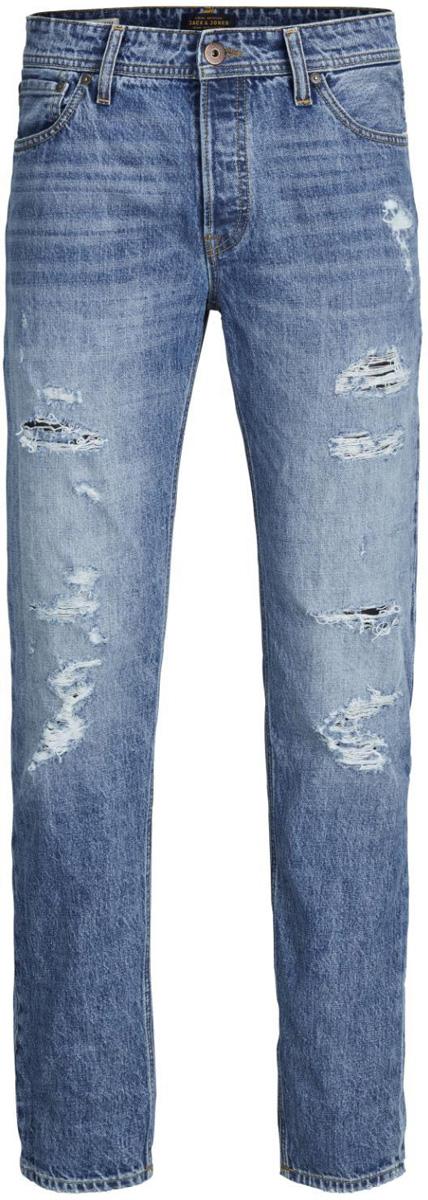 Джинсы мужские Jack & Jones, цвет: синий. 12125509. Размер 34-34 (48/50-34)12125509_Blue DenimМодные мужские джинсы Jack & Jones - это джинсы высочайшего качества, которые прекрасно сидят. Они выполнены из натурального хлопка, что обеспечивает комфорт и удобство при носке. Модель стандартной посадки станет отличным дополнением к вашему современному образу. Джинсы застегиваются на пуговицу в поясе и ширинку на молнии. На поясе предусмотрены шлевки для ремня. Джинсы имеют классический пятикарманный крой: спереди расположено два втачных кармана и один маленький накладной карман, а сзади - два накладных кармана. Модель оформлена потертостями и рваным эффектом.Эти модные и комфортные джинсы послужат отличным дополнением к вашему гардеробу.