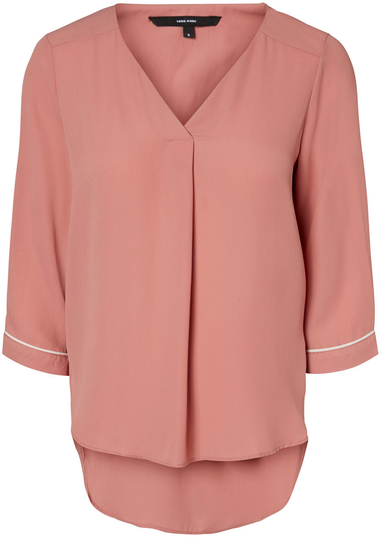 Блузка женская Vero Moda, цвет: розовый. 10190403_Old Rose. Размер XS (40)10190403_Old RoseЖенская блузка от Vero Moda выполнена из струящегося материала. Модель свободного кроя с рукавами 3/4, удлиненной спинкой и V-образным вырезом горловины.